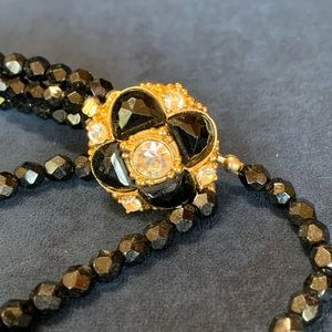 Jewelry - Triple-Strand Black Beads with Medallion Clasp